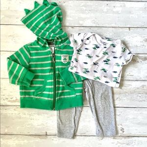 Carters 9m Outfit 3pc Set Dinosaur Jacket Onesie